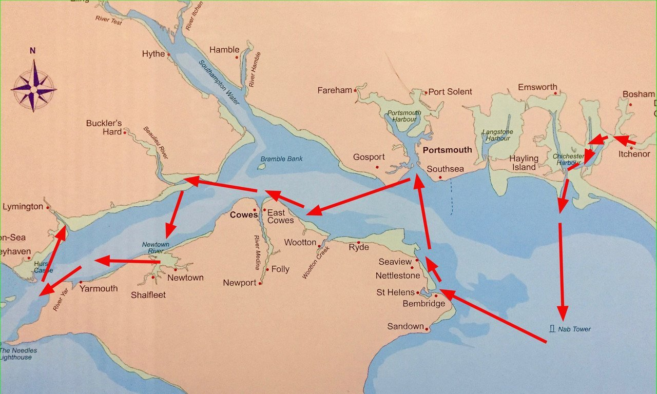 A five day sailing cruise of the Solent, UK